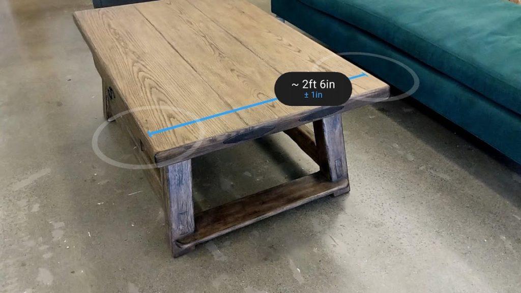 Mesure d'une table avec Google Measure