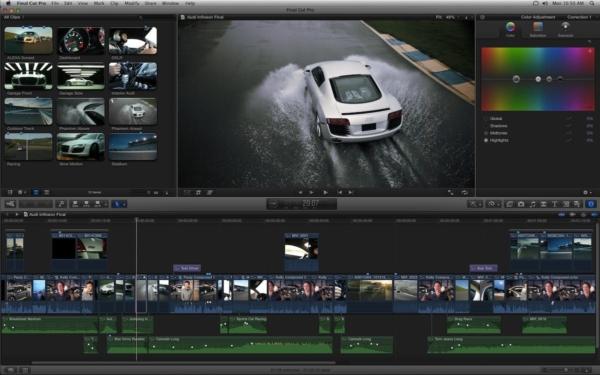 l'interface de Final Cut Pro lors d'un montage vidéo